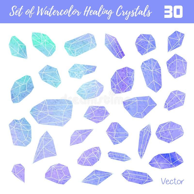 Watercolor, vector gemstones, healing crystals vector illustration