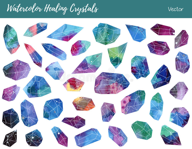Watercolor, vector gemstones, healing crystals. Collection of of colorful healing crystals, isolated on a white background. Watercolor hand painted green, blue royalty free illustration