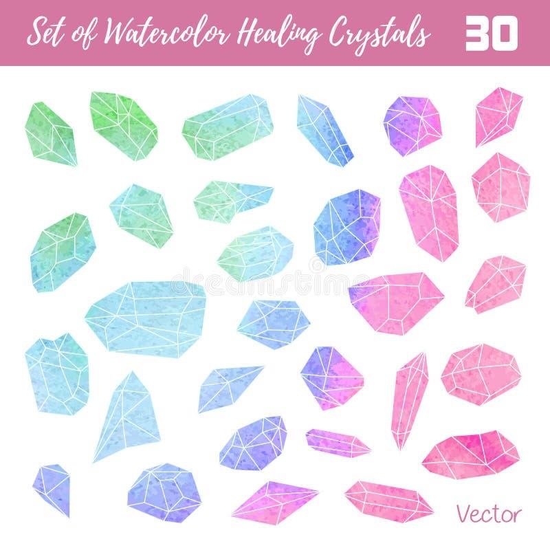 Watercolor, vector gemstones, healing crystals stock illustration