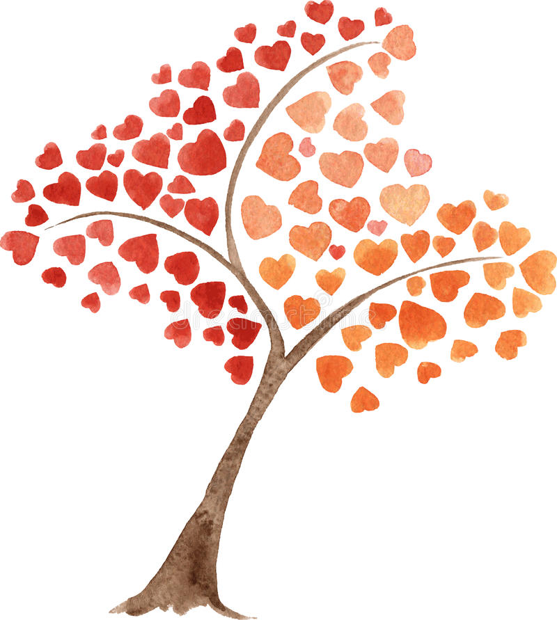 Watercolor vector hand drawn heart tree. Watercolor hand drawn heart tree. Saint Valentine's Day card. Good idea for design, cards, sites, sales, brochures stock illustration