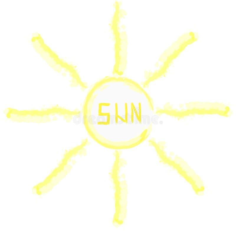 Watercolor Vector illustration of sun. Child draw. stock photo
