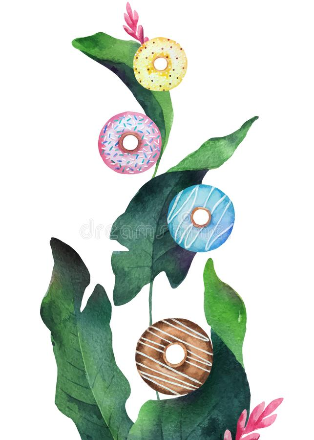 Watercolor vector mixture of colorful flying donuts and green tropical leaves. vector illustration