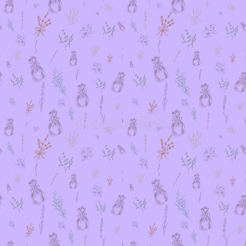Watercolor vector pattern with Lavender. Hand painting. Watercolor. Seamless pattern for fabric, paper and other printing and web royalty free stock photos