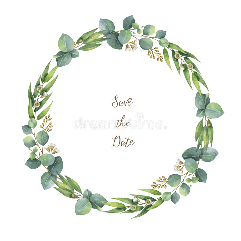 Watercolor vector round wreath with silver dollar eucalyptus. stock illustration