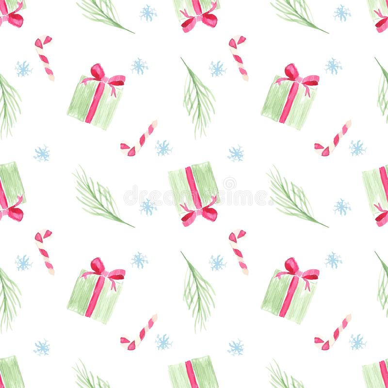 Watercolor vector seamless pattern of christmas gift. Pine branch and candy cane on white background stock illustration