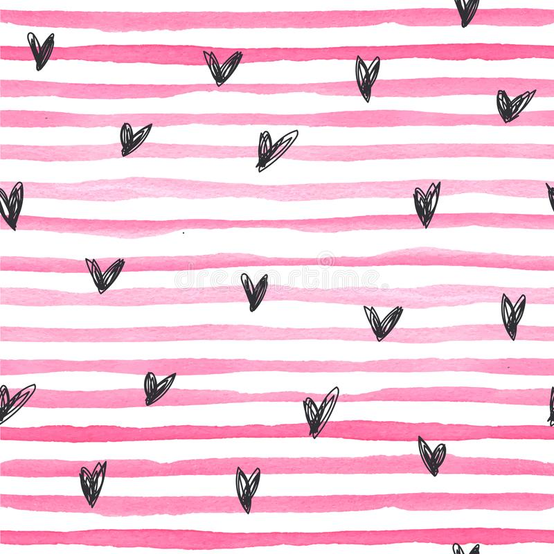 Watercolor vector seamless pattern with pink horizontal stripes amd black hand drawn hearts on a white background. Hand-painted lines, texture for packaging stock illustration