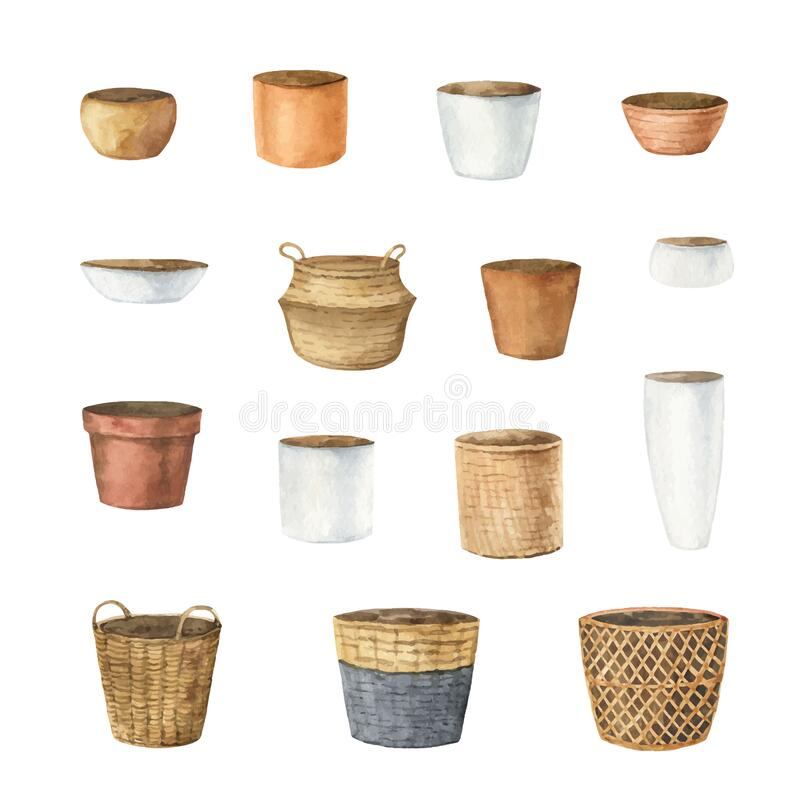 Free Watercolor Vector Set Of Ceramic Pots Of Different Shapes. Stock Image - 212553741