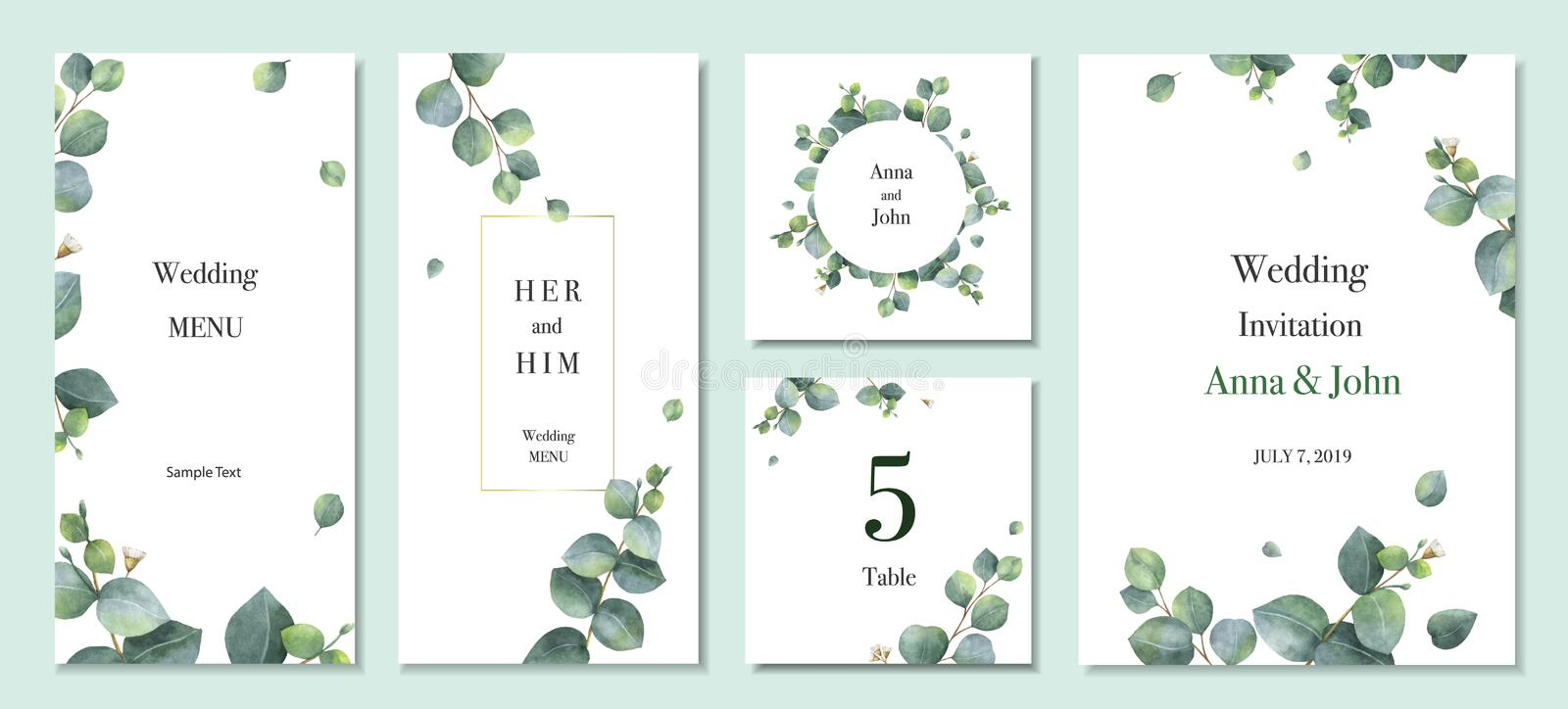 Watercolor vector set wedding invitation card template design with green eucalyptus leaves. royalty free illustration