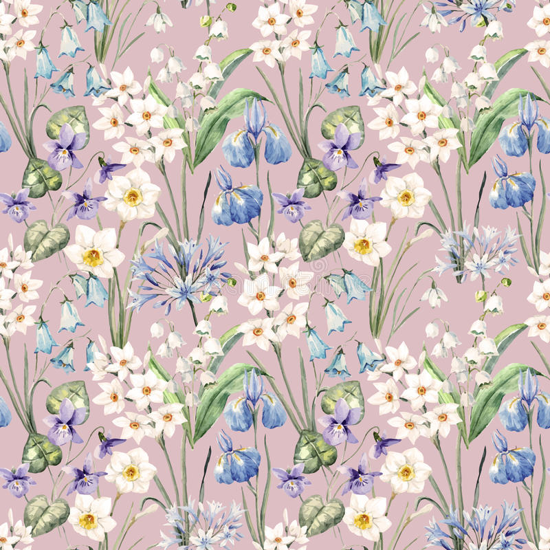 Watercolor vector spring floral pattern. Beautiful vector pattern with nice watercolor spring flowers stock illustration