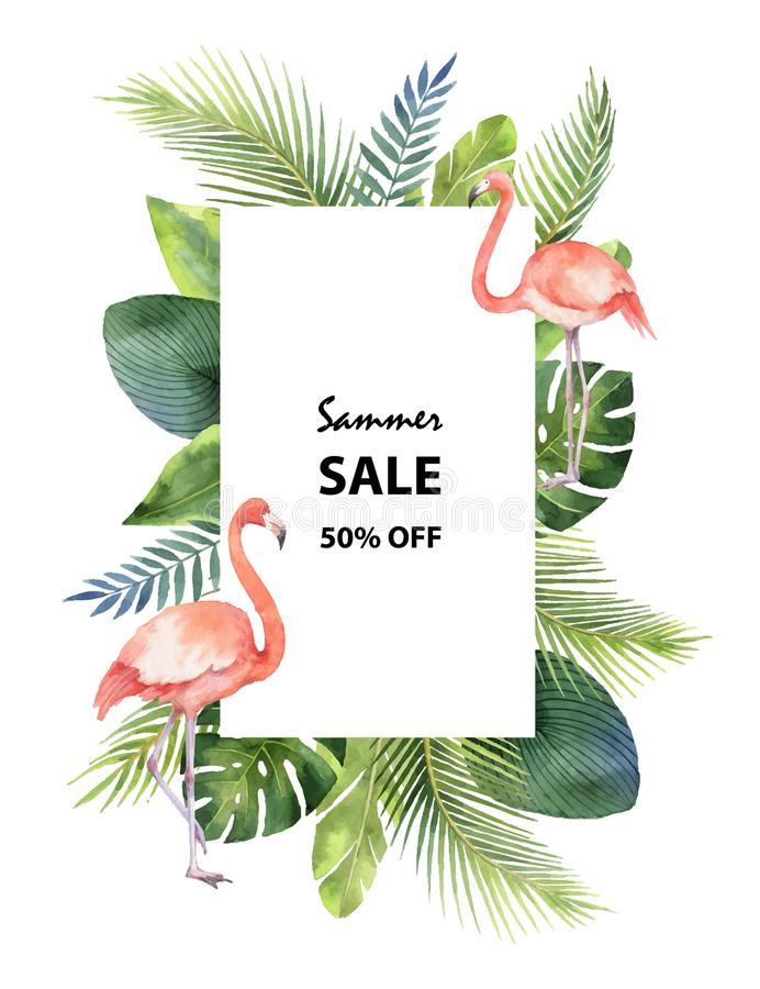 Watercolor vector summer sale banner of tropical leaves and the pink Flamingo isolated on white background. stock illustration