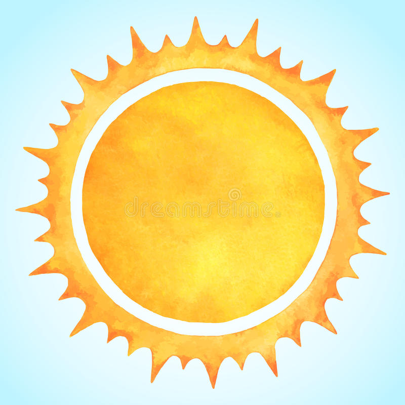 Free Watercolor Vector Sun With Spiked Crown Royalty Free Stock Photography - 55021517