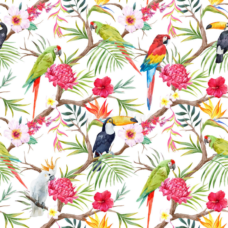 Watercolor vector tropical floral pattern vector illustration