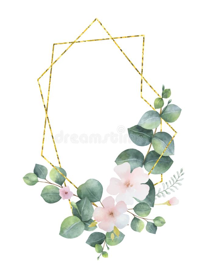 Watercolor vector wreath gold geometric frame with green eucalyptus leaves, pink flowers and branches. royalty free illustration