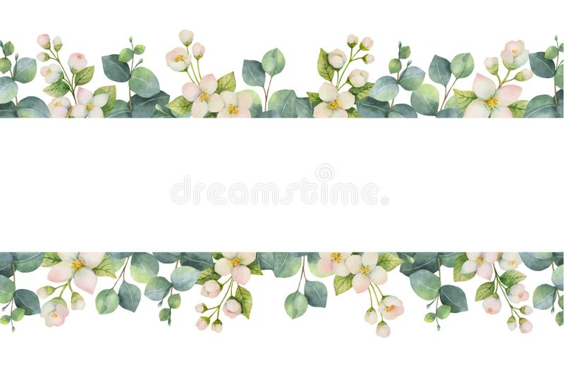 Watercolor vector wreath with green eucalyptus leaves, Jasmine flowers and branches. stock illustration