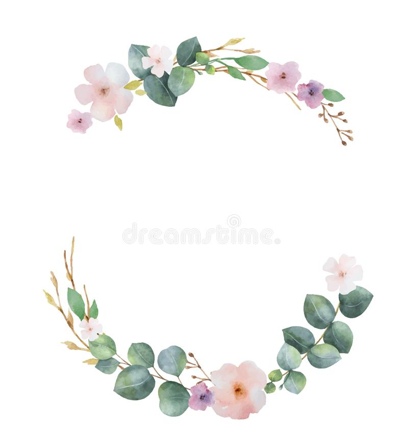Watercolor vector wreath with green eucalyptus leaves, pink flowers and branches. royalty free illustration