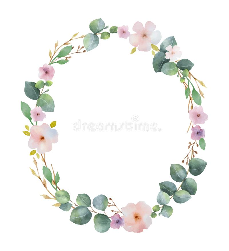 Watercolor vector wreath with green eucalyptus leaves, pink flowers and branches. stock illustration