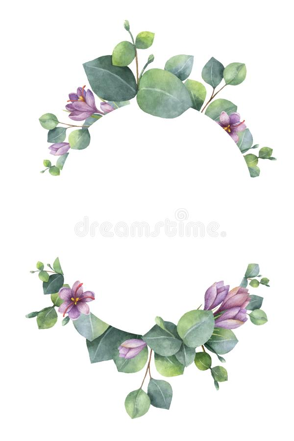 Watercolor vector wreath with green eucalyptus leaves, purple flowers and branches. royalty free illustration