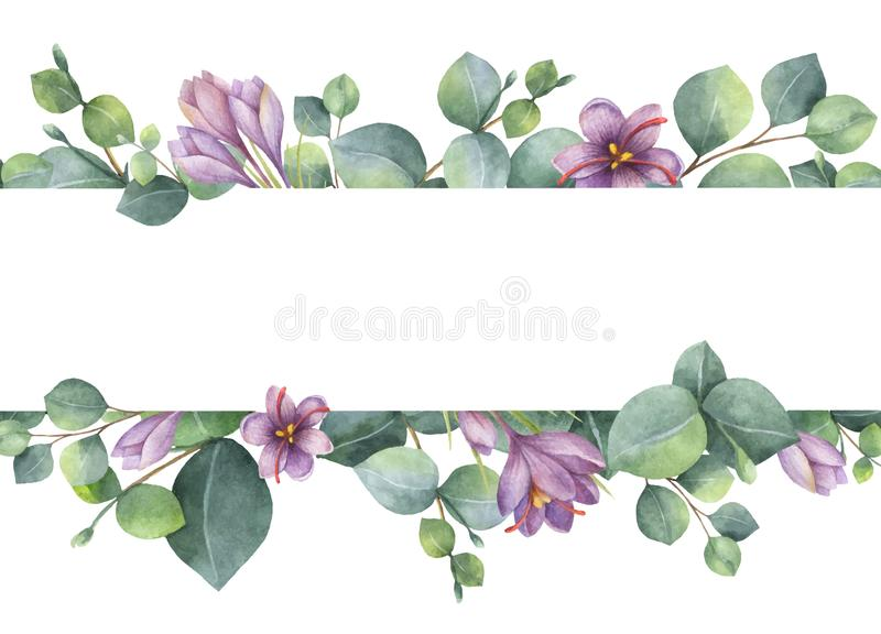 Watercolor vector wreath with green eucalyptus leaves, purple flowers and branches. stock illustration