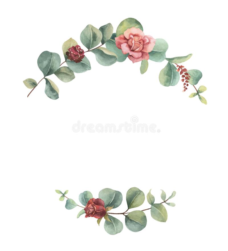 Free Watercolor Vector Wreath Of Green Branches And Flowers. Stock Image - 217682961