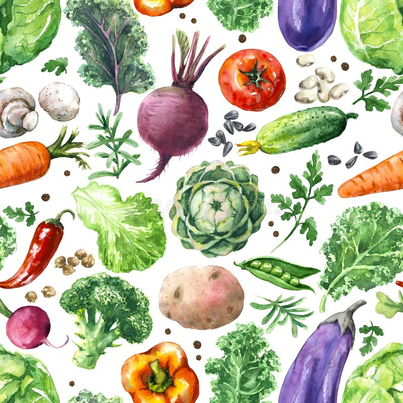 Free Watercolor Vegetables Seamless Pattern Royalty Free Stock Image - 113287796