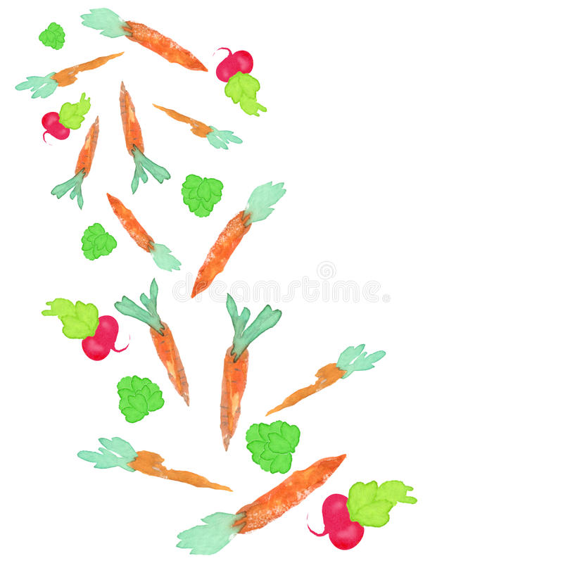 Watercolor veggies background royalty free illustration