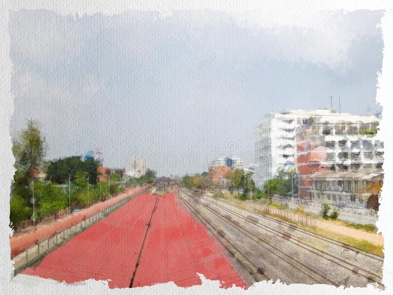 Watercolor of view near railway in Ladkrabang, Bangkok, Thailand. Art watercolor of view near railway in Ladkrabang, Bangkok, Thailand royalty free stock photo