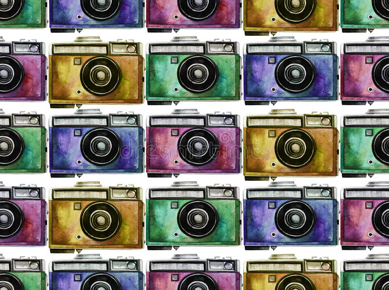 Watercolor vintage camera pattern. Watercolor vintage SLR camera with pink, blue, green and yellow body. Front view. Seamless pattern stock photography