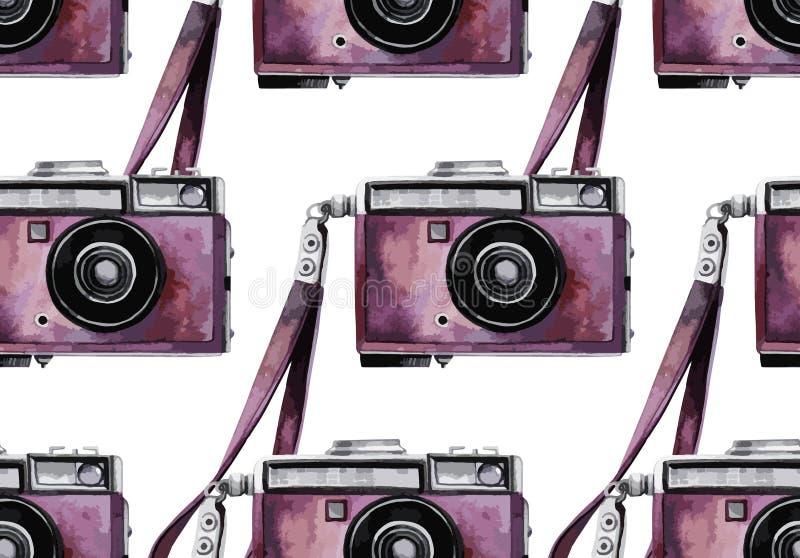 Watercolor vintage camera pattern stock illustration
