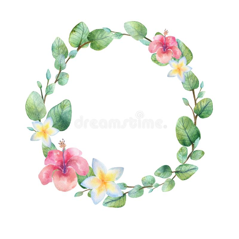 Watercolor vintage eucalyptus and tree branches wreath with flowers bouquet. stock photography