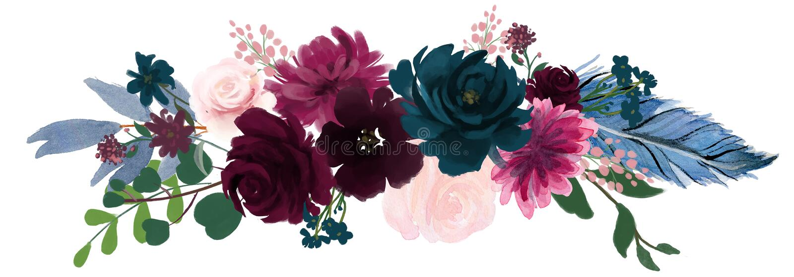 Watercolor vintage floral composition Pink and blue Floral Bouquet Flowers and Feathers. Isolated royalty free illustration
