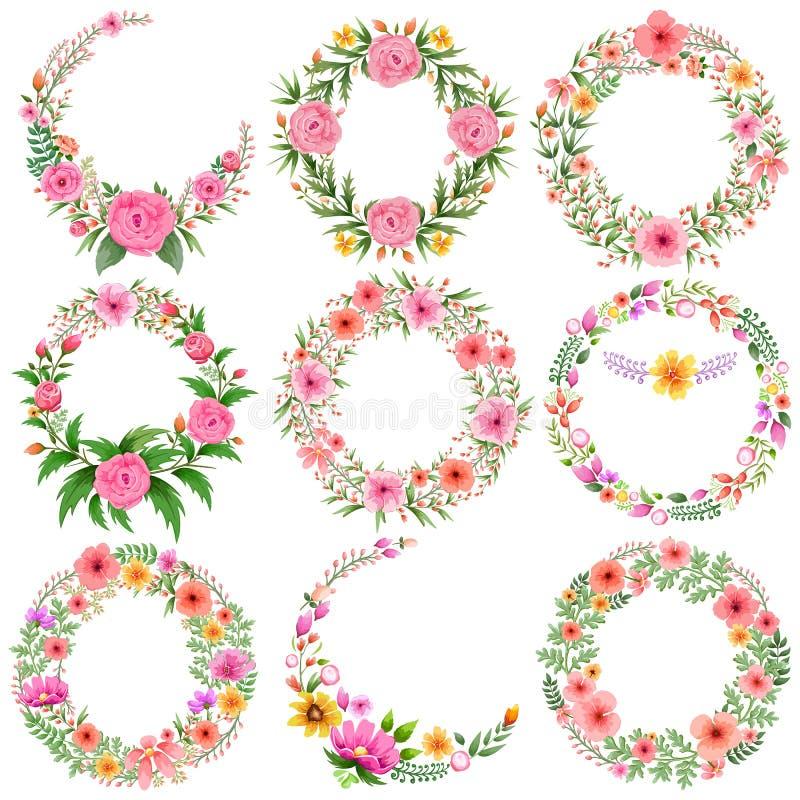 Watercolor Vintage floral frame vector illustration