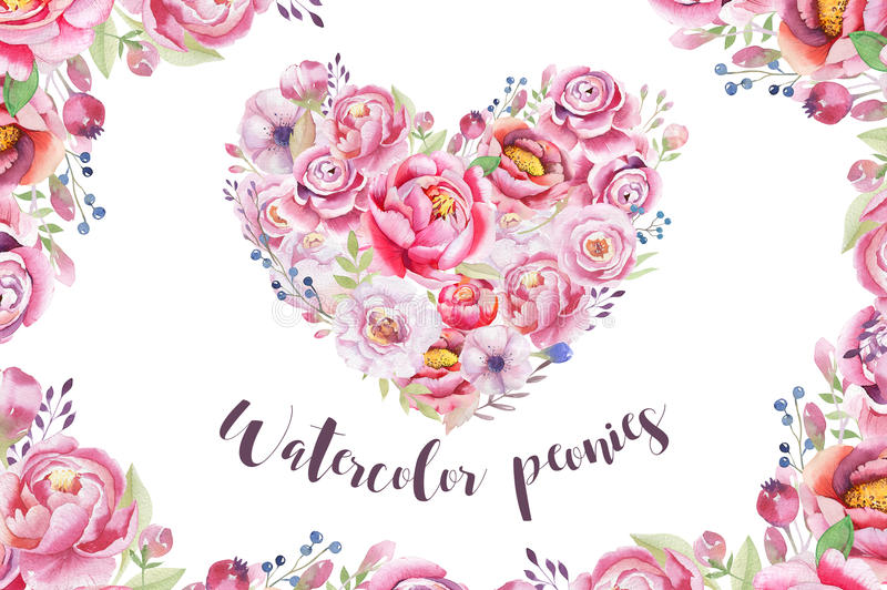 Watercolor vintage floral piony heart bouquet. Boho spring flowers and leaf frame isolated on white background: succulent, branch. Es, leaves, berries, peony vector illustration