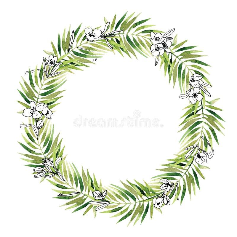 Watercolor vintage floral trendy laurels wreath royalty free illustration