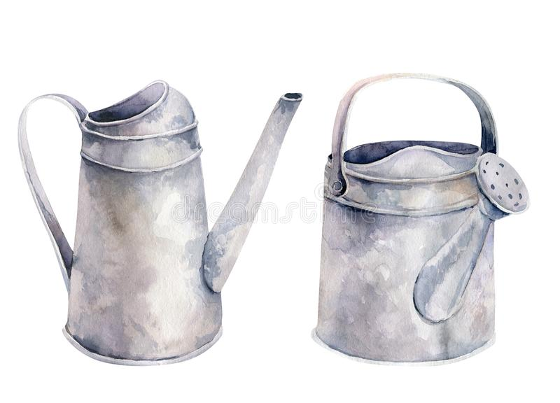 Watercolor vintage gardening tools rusty tin watering can for watering flowers. Hand drawn isolated illustration on royalty free illustration