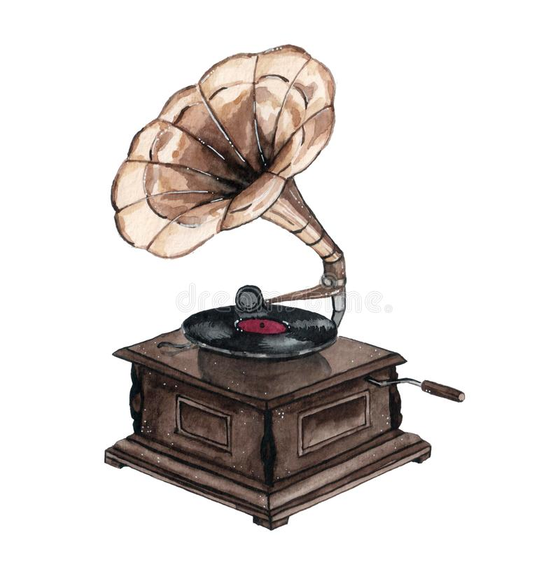 Watercolor vintage gramophone isolated on white background. stock illustration