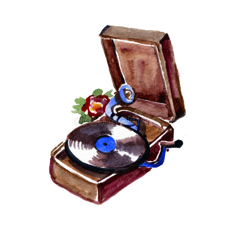 Watercolor vintage gramophone isolated on white background. Retro musical instruments stock illustration