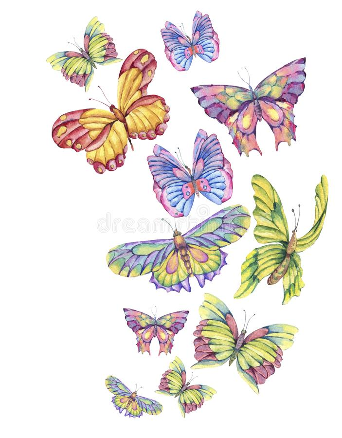 Watercolor vintage greeting card with colorful butterflies royalty free illustration