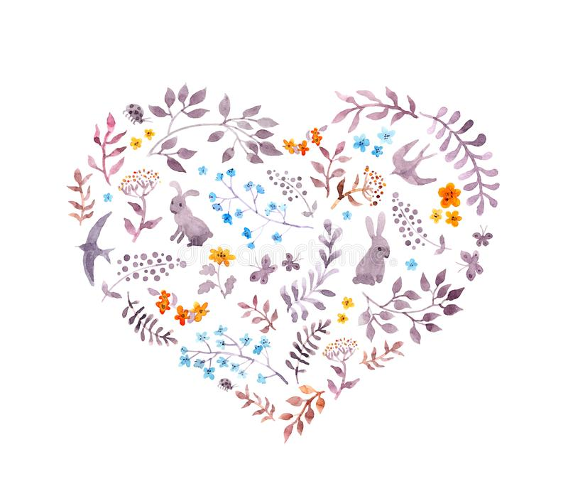 Vintage heart - cute flowers, rabbits, birds. Watercolor vector illustration