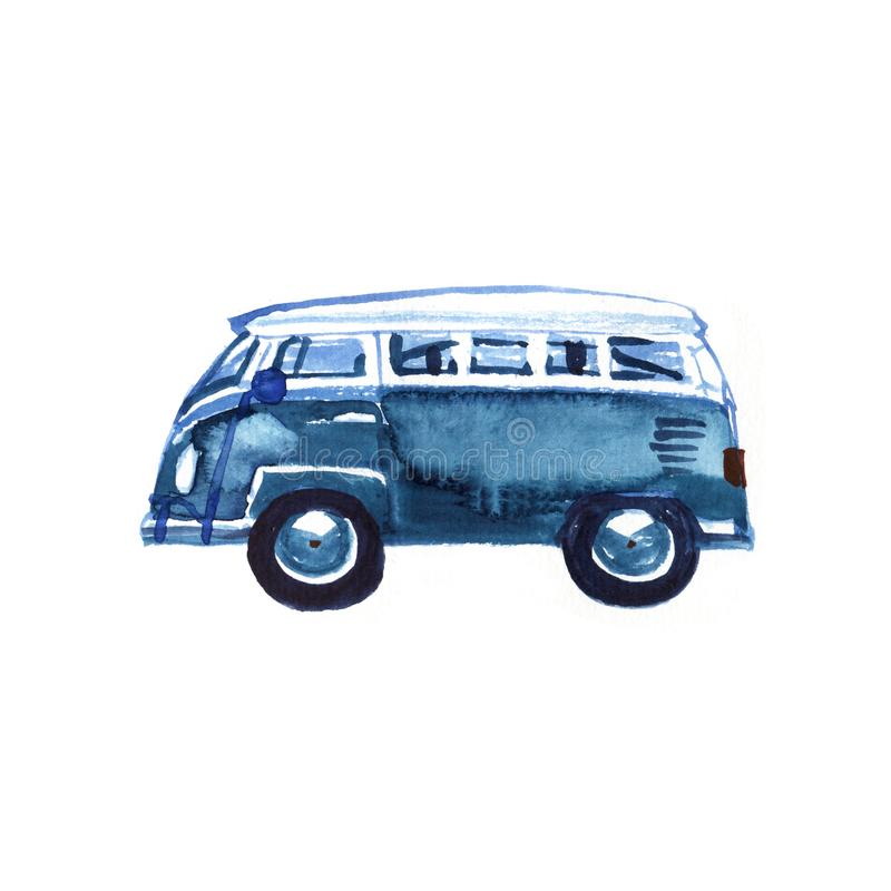Watercolor Vintage Hippie Camper Van, isolated on white background. Retro illustration. Element for your design vector illustration