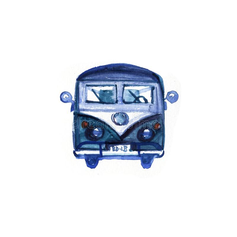 Watercolor Vintage Hippie Camper Van, isolated on white background. Retro illustration. Element for your design. Watercolor texture vector illustration