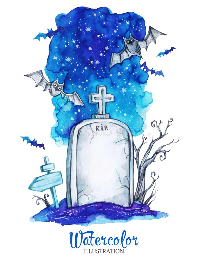 Hand painted old gravestone at halloween`s night. Spooky landscape. stock illustration
