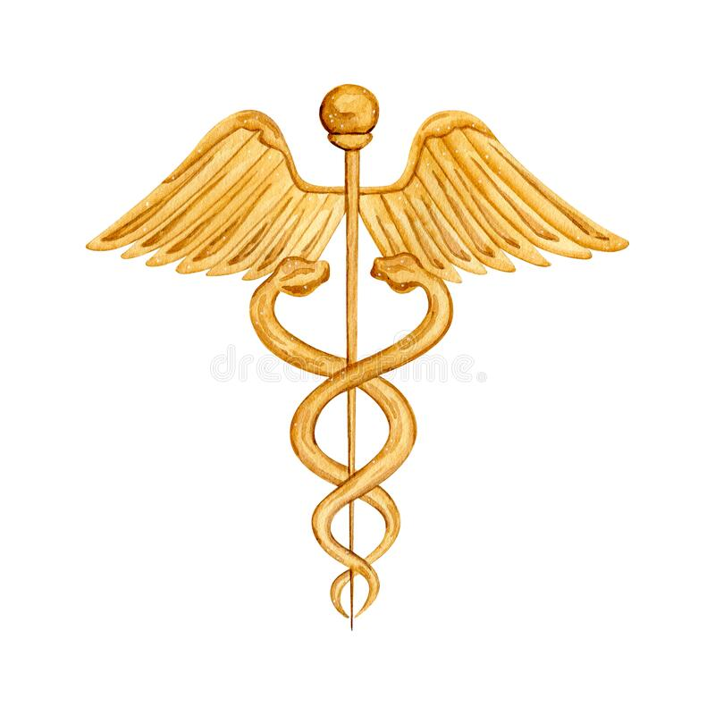 Free Watercolor Vintage Medical Sign Caduceus Royalty Free Stock Images - 196612309