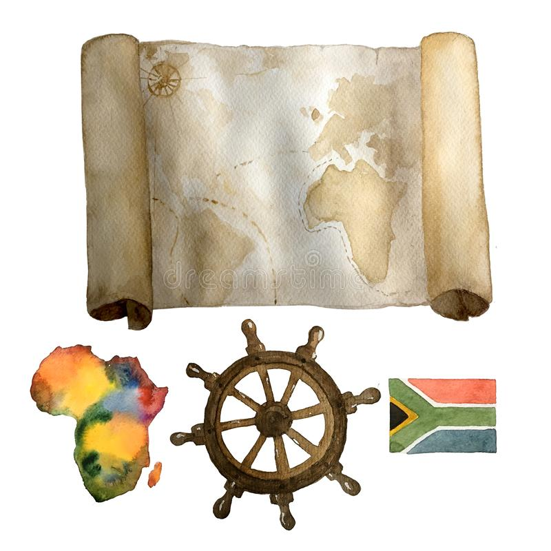 Watercolor vintage nautical set of old map, sea steering wheel and colorful Africa continent and flag hand drawn vector illustration
