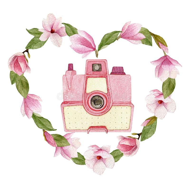 Watercolor vintage photo camera in magnolia heart isolated on white background stock illustration