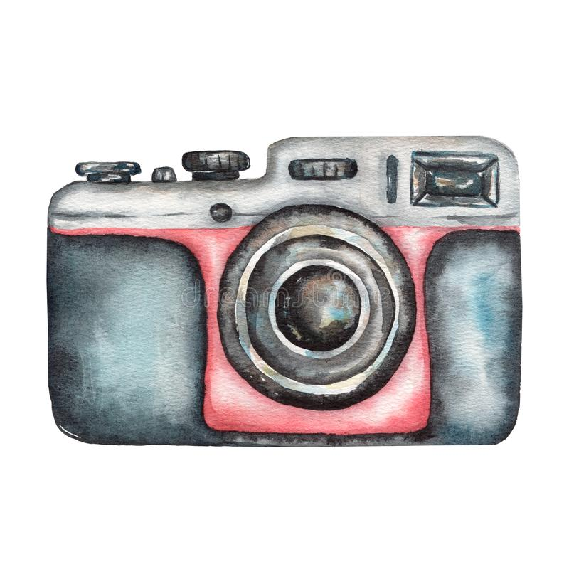 Watercolor vintage photo camera on white background. Retro film camera. Black and red color vector illustration