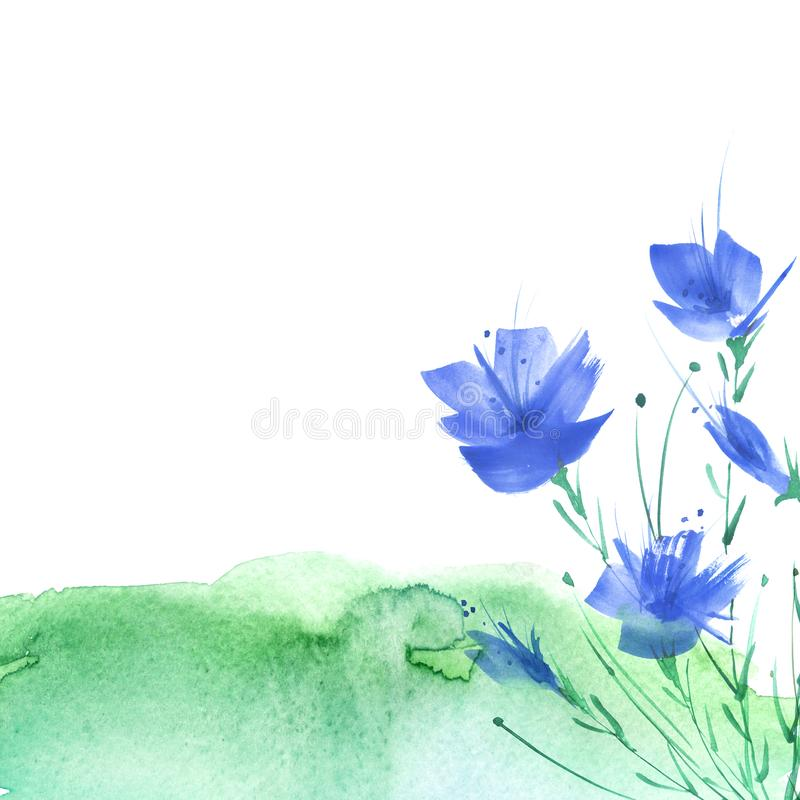 Watercolor vintage picture, border of a botanical pattern, blue poppy, knapweed, rose, lily, wild flowers, grass, plants. Leaves. On an isolated background royalty free illustration