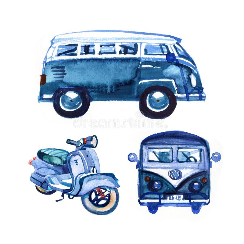 Watercolor vintage retro blue van and bike, isolated on white background stock illustration