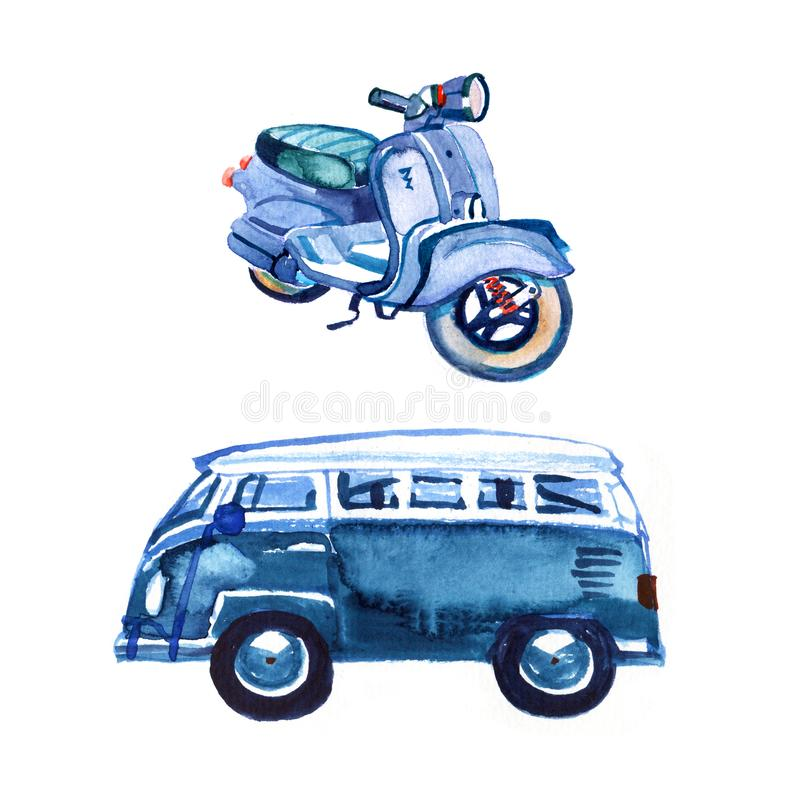 Watercolor vintage retro blue van and bike, isolated on white background.  royalty free illustration