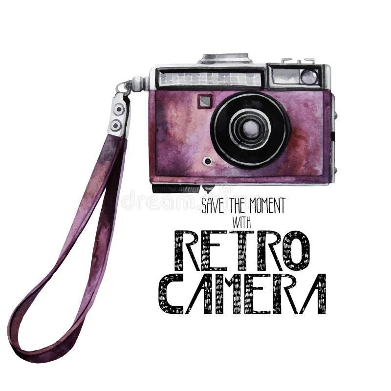Watercolor vintage retro camera vector illustration