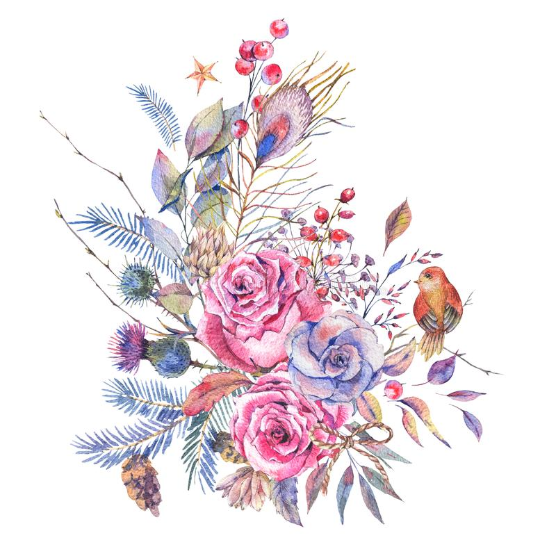 Watercolor vintage roses, thistles, wildflowers and birds royalty free illustration